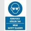 ZY1366 - ISO 7010 Türkçe İngilizce, Koruyucu Gözlük Tak, Wear Safety Glasses