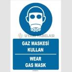 ZY1380 - ISO 7010 Türkçe İngilizce, Gaz Maskesi Kullan, Wear Gas Mask