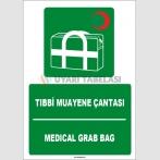 ZY1826 - ISO 7010 Türkçe İngilizce Tıbbi Muayene Çantası, Medical Grab Bag