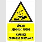 ZY1844 - ISO 7010 Türkçe İngilizce Dikkat Aşındırıcı Madde, Warning Corrosive Substance