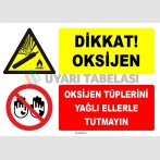 ZY1908 - ISO 7010 Dikkat! Oksijen, Oksijen Tüplerini Yağlı Ellerle Tutmayın