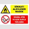 ZY1910 - ISO 7010 Dikkat Alevlenir Madde, Sigara, Ateş ve Açık Alevle Yaklaşma