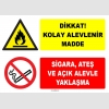 ZY1911 - ISO 7010 Dikkat Kolay Alevlenir Madde, Sigara, Ateş ve Açık Alevle Yaklaşma