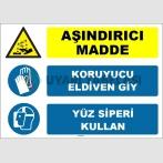 ZY1922 - ISO 7010 Aşındırıcı Madde, Koruyucu Eldiven Giy, Yüz Siperi Kullan