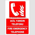 ZY1962 - ISO 7010 Türkçe İngilizce Acil Yangın Telefonu, Emergency Fire Telephone