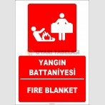 ZY1997 - Türkçe İngilizce Yangın Battaniyesi, Fire Blanket