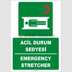 ZY2015 - ISO 7010 Türkçe İngilizce Acil Durum Sedyesi, Emergency Stretcher