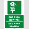 ZY2029 - ISO 7010 Türkçe İngilizce Göz Duşu Noktası, Eye Wash Station