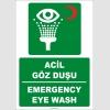 ZY2032 - ISO 7010 Türkçe İngilizce Acil Göz Duşu, Emergency Eye Wash