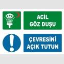 ZY2035 - ISO 7010 Acil Göz Duşu, Çevresini Açık Tutun