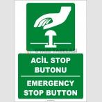 ZY2057 - ISO 7010 Türkçe İngilizce Acil Stop Butonu, Emergency Stop Button