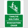 ZY2072 - ISO 7010 Türkçe İngilizce Tahliye Koltuğu, Evacuation Chair