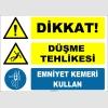 ZY2100 - ISO 7010 Dikkat! Düşme Tehlikesi, Emniyet Kemeri Kullan