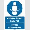 ZY2148 - ISO 7010 Türkçe İngilizce Basınçlı Tüpleri Bağlı Tut, Secure Gas Cylinders