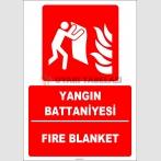 ZY2153 - ISO 7010 Türkçe İngilizce Yangın Battaniyesi, Fire Blanket