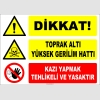 ZY2210 - Dikkat! Toprak Altı Yüksek Gerilim Hattı, Kazı Yapmak Tehlikeli ve Yasaktır