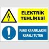 ZY2223 - ISO 7010 Elektrik Tehlikesi, Pano Kapaklarını Kapalı Tutun