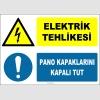 ZY2224 - ISO 7010 Elektrik Tehlikesi, Pano Kapaklarını Kapalı Tut