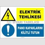 ZY2236 - ISO 7010 Elektrik Tehlikesi, Pano Kapaklarını Kilitli Tutun