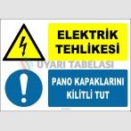 ZY2226 - ISO 7010 Elektrik Tehlikesi, Pano Kapaklarını Kilitli Tut