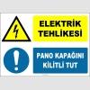ZY2244 - ISO 7010 Elektrik Tehlikesi, Pano Kapağını Kilitli Tut