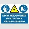 ZY2257 - ISO 7010 Elektrik Panosunda Çalışırken Koruyucu Eldiven ve Koruyucu Ayakkabı Kullan