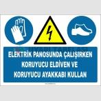 ZY2258 - ISO 7010 Elektrik Panosunda Çalışırken Koruyucu Eldiven ve Koruyucu Ayakkabı Kullan
