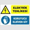 ZY2262 - ISO 7010 Elektrik Tehlikesi, Koruyucu Eldiven Giy