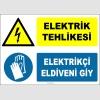 ZY2263 - ISO 7010 Elektrik Tehlikesi, Elektrikçi Eldiveni Giy