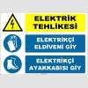 ZY2265 - ISO 7010 Elektrik Tehlikesi, Elektrikçi Eldiveni Giy, Elektrikçi Ayakkabısı Giy