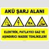 ZY2291 - ISO 7010 Akü Şarj Alanı, Elektrik, Patlayıcı Gaz ve Aşındırıcı Madde Tehlikeleri