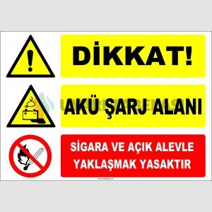 ZY2299 - Dikkat! Akü Şarj Alanı, Sigara ve Açık Alevle Yaklaşmak Yasaktır