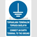 ZY2333 - ISO 7010 Türkçe İngilizce Topraklama Terminalini Toprağa Bağlayın, Connect An Earth Terminal To The Ground