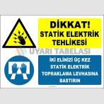 ZY2341 - Dikkat! Statik Elektrik Tehlikesi, İki Elinizi Üç Kez Statik Elektrik Topraklama Levhasına Bastırın