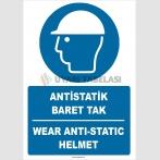 ZY2387 - ISO 7010 Türkçe İngilizce Antistatik Baret Tak, Wear Antistatic Helmet
