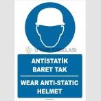 ZY2389 - Türkçe İngilizce Antistatik Baret Tak, Wear Antistatic Helmet