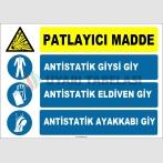 ZY2375 - ISO 7010 Patlayıcı Madde, Antistatik Giysi Giy, Antistatik Eldiven Giy, Antistatik Ayakkabı Giy