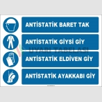 ZY2379 - ISO 7010 Antistatik Baret Tak, Antistatik Giysi Giy, Antistatik Eldiven Giy, Antistatik Ayakkabı Giy