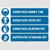 ZY2380 - ISO 7010 Koruyucu Baret Tak, Koruyucu Giysi Giy, Koruyucu Eldiven Giy, Antistatik Ayakkabı Giy