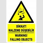 ZY2463 - ISO 7010 Türkçe İngilizce Dikkat! Malzeme Düşebilir, Warning! Falling Objects