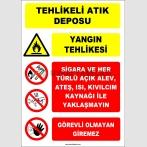 ZY2966 - Tehlikeli Atık Deposu - Yangın Tehlikesi - Sigara, alev, ateş, ısı, kıvılcımla yaklaşmayın, görevli olmayan giremez