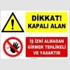ZY2971 - Dikkat! Kapalı Alan, İş İzni Almadan Girmek Tehlikeli ve Yasaktır