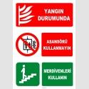 ZY3045 - Yangın Durumunda Asansörü Kullanmayın, Merdivenleri Kullanın