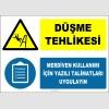 ZY3074 - Düşme Tehlikesi, Merdiven Kullanımı İçin Yazılı Talimatları Uygulayın