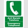 EF1199 - Türkçe İngilizce Acil Durum Telefonu Emergency Telephone