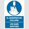 EF1252 - Türkçe İngilizce El Dezenfektanı Kullanın, Use Hand Sanitizer