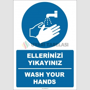 EF1281 - Türkçe İngilizce Ellerinizi Yıkayınız, Wash Your Hands