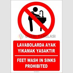 EF1291 - Türkçe İngilizce Lavabolarda Ayak Yıkamak Yasaktır, Feet Wash in Sinks Prohibited