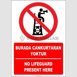 EF1444 - Türkçe İngilizce Burada Cankurtaran Yoktur, No Lifeguard Present Here