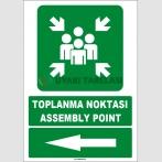 EF1494 - Türkçe İngilizce Toplanma Noktası, Assembly Point, Sol Tarafta